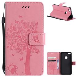 Embossing Butterfly Tree Leather Wallet Case for Huawei P10 Lite P10Lite - Pink
