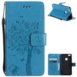 Embossing Butterfly Tree Leather Wallet Case for Huawei P10 Lite P10Lite - Blue