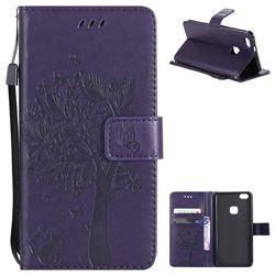 Embossing Butterfly Tree Leather Wallet Case for Huawei P10 Lite P10Lite - Purple