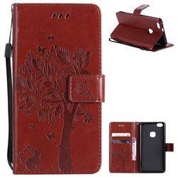 Embossing Butterfly Tree Leather Wallet Case for Huawei P10 Lite P10Lite - Brown