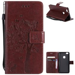 Embossing Butterfly Tree Leather Wallet Case for Huawei P10 Lite P10Lite - Coffee