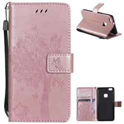 Embossing Butterfly Tree Leather Wallet Case for Huawei P10 Lite P10Lite - Rose Pink