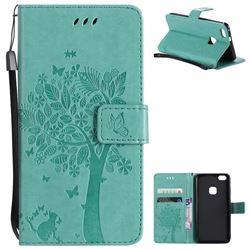 Embossing Butterfly Tree Leather Wallet Case for Huawei P10 Lite P10Lite - Cyan