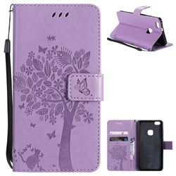 Embossing Butterfly Tree Leather Wallet Case for Huawei P10 Lite P10Lite - Violet
