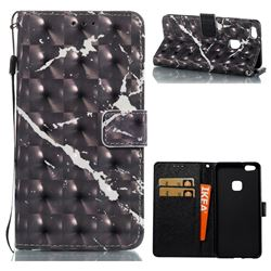 Black Marble 3D Painted Leather Wallet Case for Huawei P10 Lite P10Lite