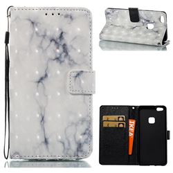 White Gray Marble 3D Painted Leather Wallet Case for Huawei P10 Lite P10Lite