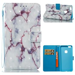 White Purple Marble 3D Painted Leather Wallet Case for Huawei P10 Lite P10Lite
