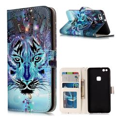 Ice Wolf 3D Relief Oil PU Leather Wallet Case for Huawei P10 Lite P10Lite