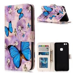 Purple Flowers Butterfly 3D Relief Oil PU Leather Wallet Case for Huawei P10 Lite P10Lite