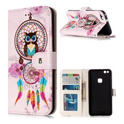Wind Chimes Owl 3D Relief Oil PU Leather Wallet Case for Huawei P10 Lite P10Lite