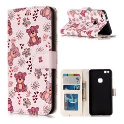 Cute Bear 3D Relief Oil PU Leather Wallet Case for Huawei P10 Lite P10Lite