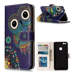 Folk Owl 3D Relief Oil PU Leather Wallet Case for Huawei P10 Lite P10Lite
