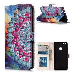 Mandala Flower 3D Relief Oil PU Leather Wallet Case for Huawei P10 Lite P10Lite