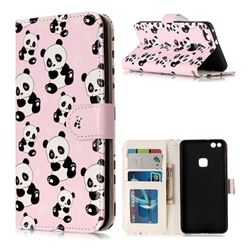 Cute Panda 3D Relief Oil PU Leather Wallet Case for Huawei P10 Lite P10Lite