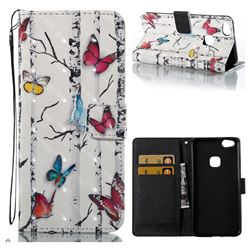 Colored Butterflies 3D Painted Leather Wallet Case for Huawei P10 Lite P10Lite