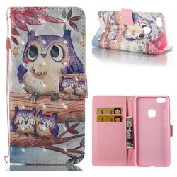 Purple Owl 3D Painted Leather Wallet Case for Huawei P10 Lite P10Lite