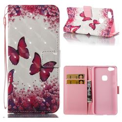 Rose Butterfly 3D Painted Leather Wallet Case for Huawei P10 Lite P10Lite