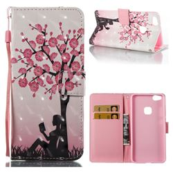 Plum Girl 3D Painted Leather Wallet Case for Huawei P10 Lite P10Lite