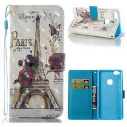 Flower Eiffel Tower 3D Painted Leather Wallet Case for Huawei P10 Lite P10Lite