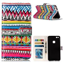 Tribal Pattern 3D Relief Oil PU Leather Wallet Case for Huawei P10 Lite P10Lite