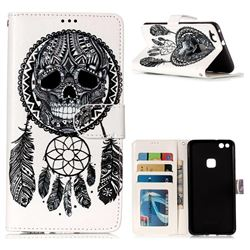 Wind Chimes Skull 3D Relief Oil PU Leather Wallet Case for Huawei P10 Lite P10Lite