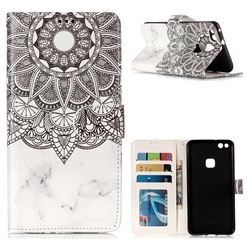 Marble Mandala 3D Relief Oil PU Leather Wallet Case for Huawei P10 Lite P10Lite