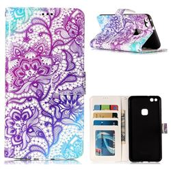 Purple Lotus 3D Relief Oil PU Leather Wallet Case for Huawei P10 Lite P10Lite