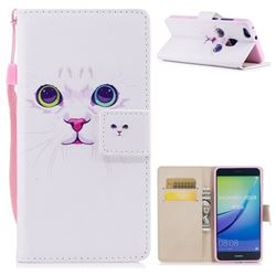 White Cat PU Leather Wallet Case for Huawei P10 Lite P10Lite