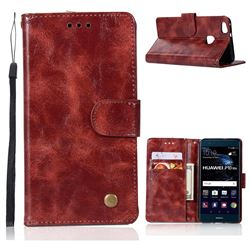 Luxury Retro Leather Wallet Case for Huawei P10 Lite P10Lite - Wine Red