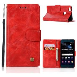 Luxury Retro Leather Wallet Case for Huawei P10 Lite P10Lite - Red