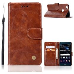 Luxury Retro Leather Wallet Case for Huawei P10 Lite P10Lite - Brown