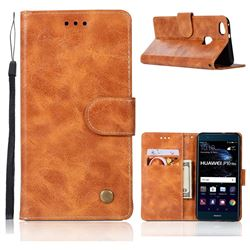 Luxury Retro Leather Wallet Case for Huawei P10 Lite P10Lite - Golden