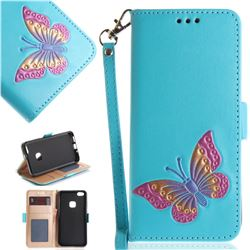Imprint Embossing Butterfly Leather Wallet Case for Huawei P10 Lite P10Lite - Sky Blue