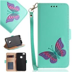 Imprint Embossing Butterfly Leather Wallet Case for Huawei P10 Lite P10Lite - Mint Green