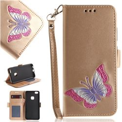 Imprint Embossing Butterfly Leather Wallet Case for Huawei P10 Lite P10Lite - Golden
