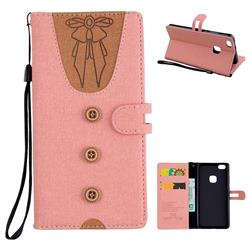 Ladies Bow Clothes Pattern Leather Wallet Phone Case for Huawei P10 Lite P10Lite - Pink