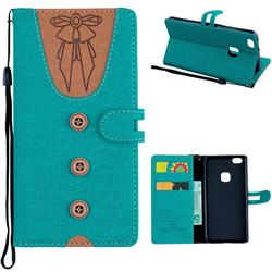 Ladies Bow Clothes Pattern Leather Wallet Phone Case for Huawei P10 Lite P10Lite - Green