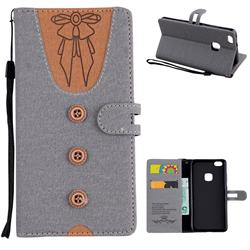 Ladies Bow Clothes Pattern Leather Wallet Phone Case for Huawei P10 Lite P10Lite - Gray