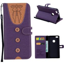 Ladies Bow Clothes Pattern Leather Wallet Phone Case for Huawei P10 Lite P10Lite - Purple