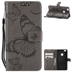 Embossing 3D Butterfly Leather Wallet Case for Huawei P10 Lite P10Lite - Gray