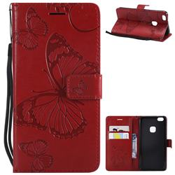 Embossing 3D Butterfly Leather Wallet Case for Huawei P10 Lite P10Lite - Red