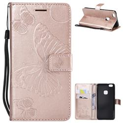 Embossing 3D Butterfly Leather Wallet Case for Huawei P10 Lite P10Lite - Rose Gold