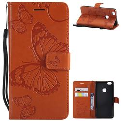 Embossing 3D Butterfly Leather Wallet Case for Huawei P10 Lite P10Lite - Orange