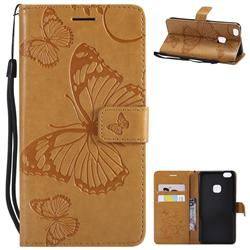 Embossing 3D Butterfly Leather Wallet Case for Huawei P10 Lite P10Lite - Yellow