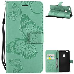 Embossing 3D Butterfly Leather Wallet Case for Huawei P10 Lite P10Lite - Green
