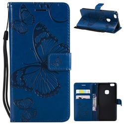 Embossing 3D Butterfly Leather Wallet Case for Huawei P10 Lite P10Lite - Blue