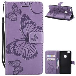 Embossing 3D Butterfly Leather Wallet Case for Huawei P10 Lite P10Lite - Purple