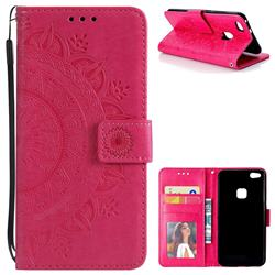Intricate Embossing Datura Leather Wallet Case for Huawei P10 Lite P10Lite - Rose Red