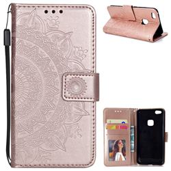 Intricate Embossing Datura Leather Wallet Case for Huawei P10 Lite P10Lite - Rose Gold
