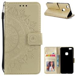 Intricate Embossing Datura Leather Wallet Case for Huawei P10 Lite P10Lite - Golden